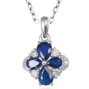 Gemstone Floral Diamond Pendant Jewelry